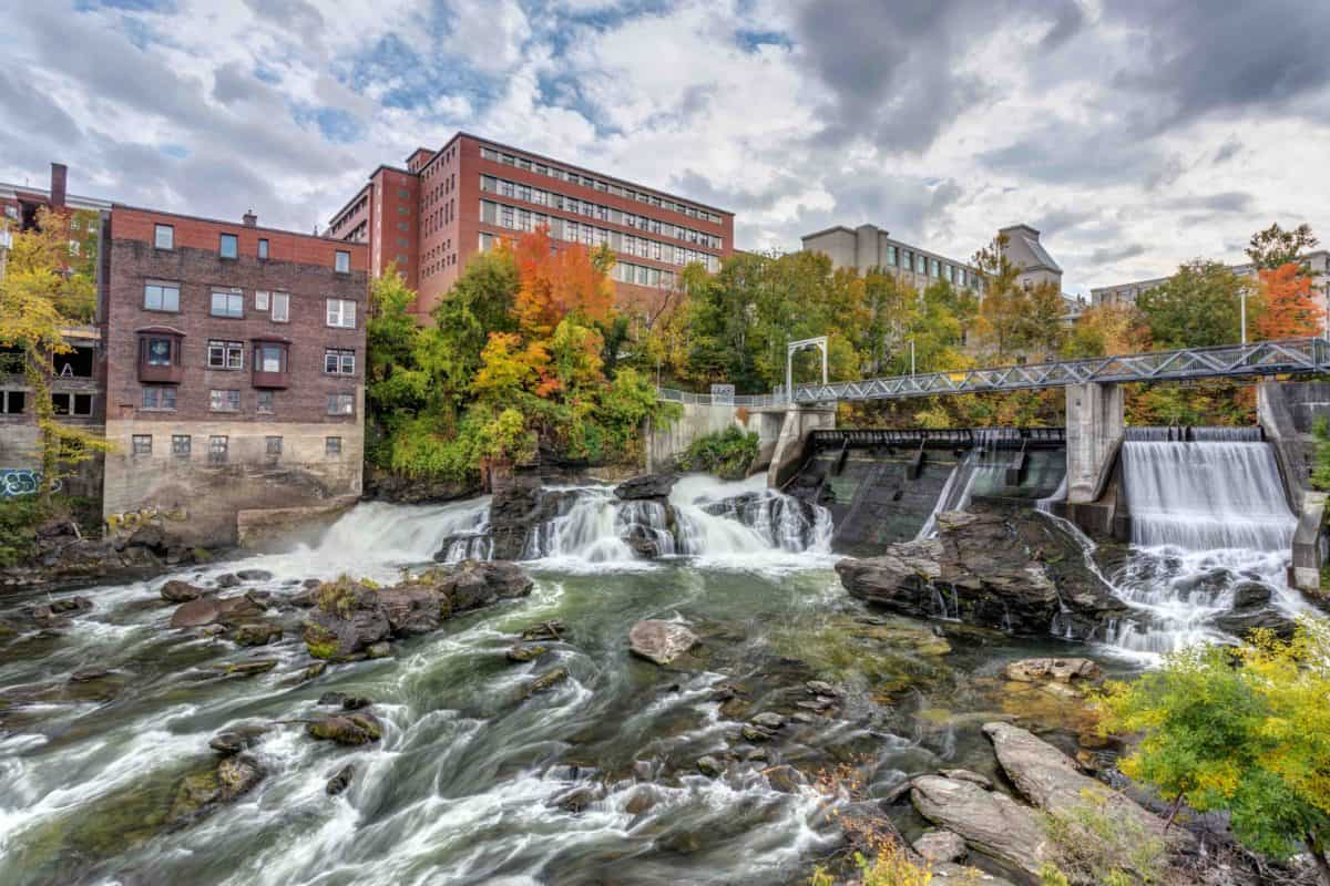 Magog River in Downtown Sherbrooke, Quebec in Autumn